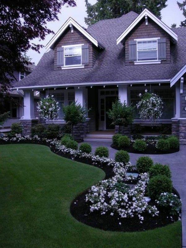 Garten Designideen Vorgartengestaltung Modern Rasen Pflanzen