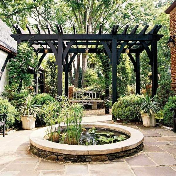 garten ideen pergola selbst bauen patio wassermerkmal