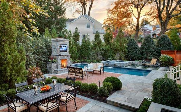 Garten landschaftsbau mit ziegeln 15 tolle for Ovaler pool garten