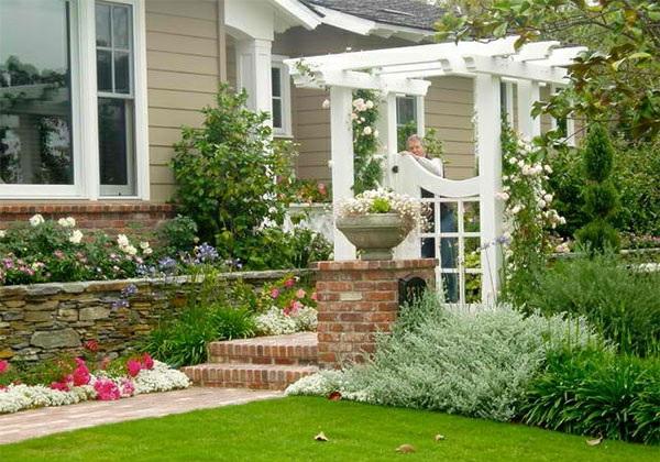 garten landschaftsbau vorgarten gestalten mit ziegeln