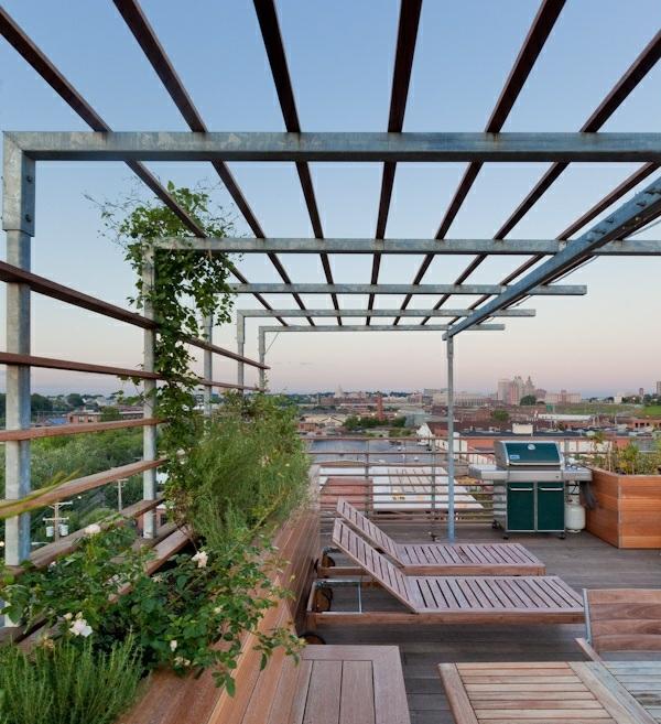 Bambus Sichtschutz Regen  garten pergola aus metall ideen