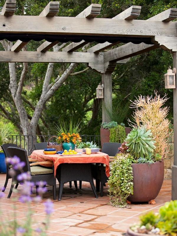 garten pergola selbst bauen patio schön rattanmöbel
