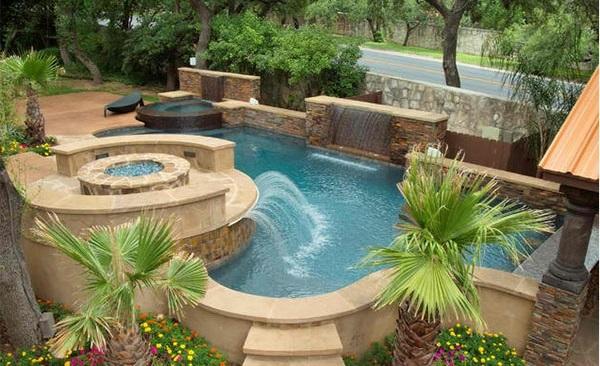 gartengestaltung garten pool und feuerstelle luxuriös palmen