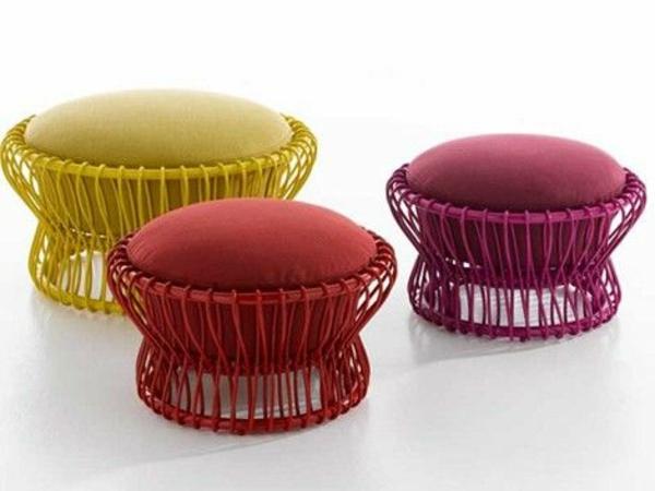 gartengestaltung outdoor rattanmöbel hocker farbig