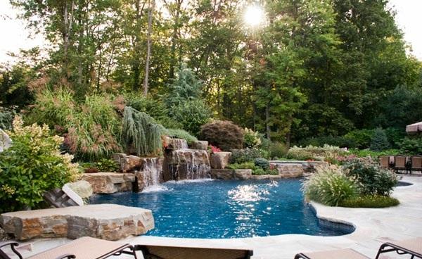 gartenpool swimmingpool wasserfall natur