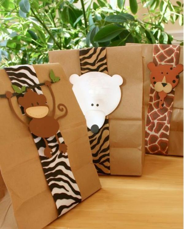 geschenke schön verpacken geschenkband mit tiermustern