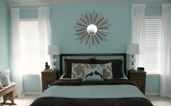 Schlafzimmer ideen farbgestaltung blau  Wandfarbe Taubenblau - Wandgestaltung Ideen mit blauen Farbtönen