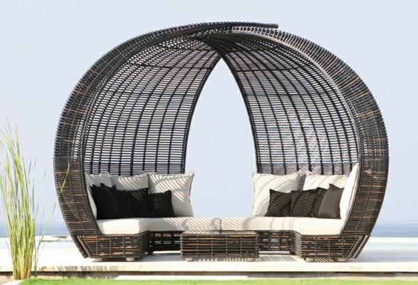 groß rattan konstruktion rund liege bett sofa