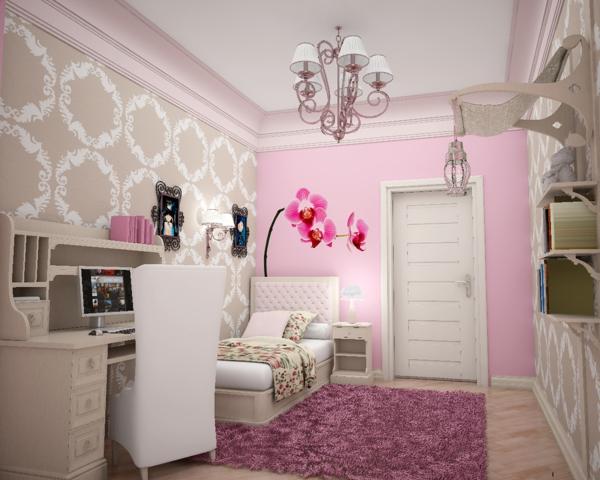 Hellrosa Altrosa Wandfarbe Pastellfarben Farbakzente Mädchenzimmer  Farbgestaltung