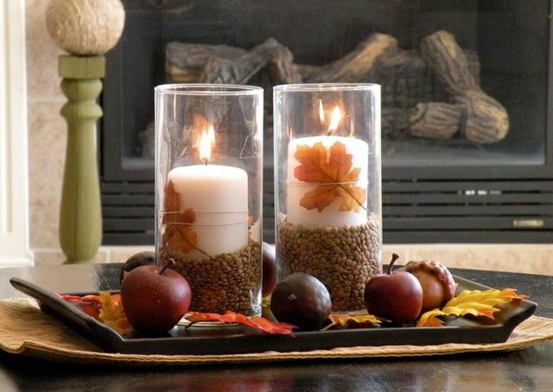 Tischdeko herbst naturmaterialien  Herbstdeko Ideen - farbenfrohe Tischdeko und andere Bastelideen