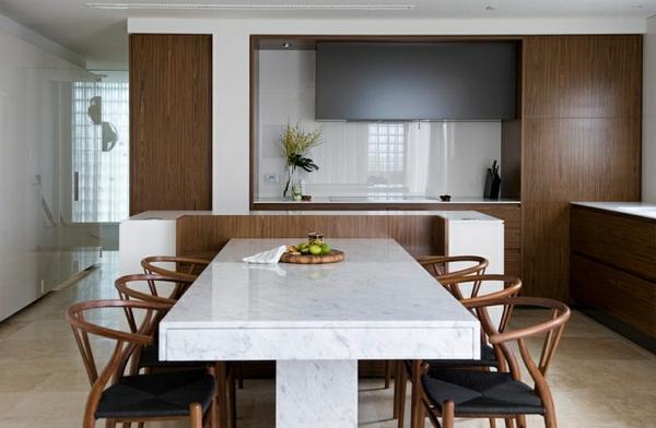 holz und marmor esszimmer küche minimalistisch modern eingerichtet