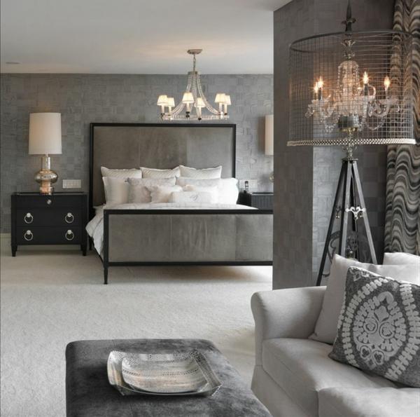 ideen für einrichtung schlafzimmer grau bett kronleuchter sofa