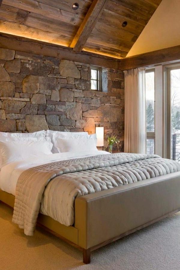 ideen für einrichtung schlafzimmer rustikal bett steinwand