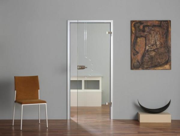 innentüren einbauen minimalistisch grau wandgestaltung glas