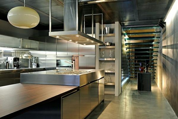 interior design ideen industrielle küche treppe glas