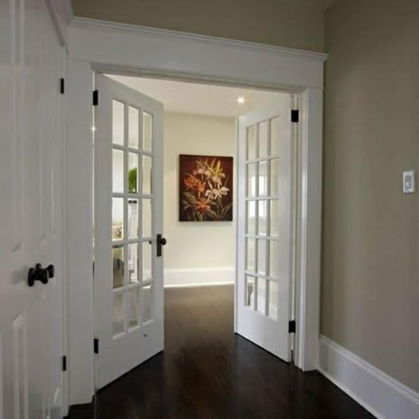 interior design ideen weiße innentüren holz glas