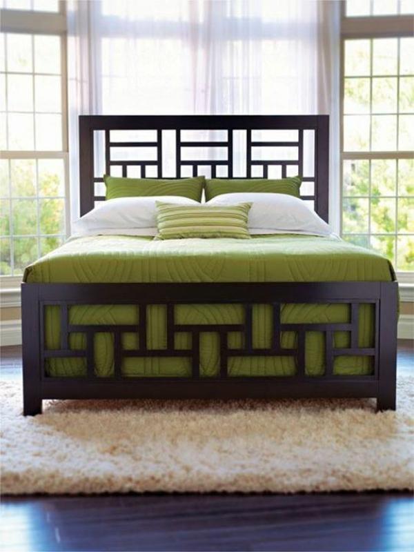 interior design schlafzimmer farbideen grüne bettdecke
