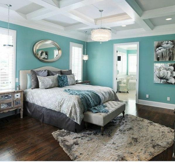 interior design schlafzimmer farbideen wandgestaltung türkis bett