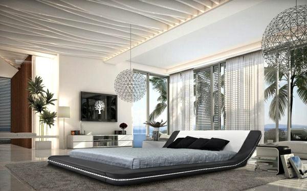 interior design schlafzimmer ideen schwarz-weiß schöne decke dekoration