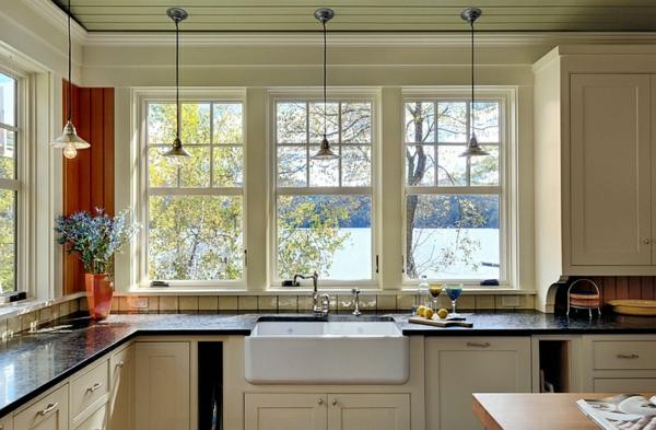 küche einrichten landhaus küchenmöbel holz spüle