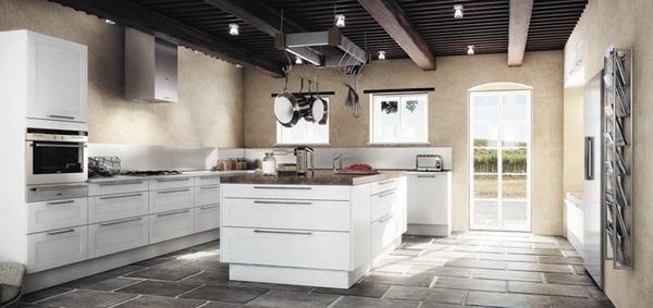küche einrichten minimalistisch skandinavisches design fliesenboden