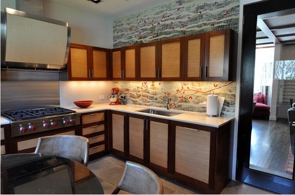 küche gestalten im asiatischen stil halbinsel l form küchenschränke aus holz