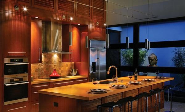 küche gestalten im asiatischen stil hawai kücheninsel esstisch spüle arbeitsplatte