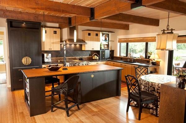 küche gestalten im asiatischen stil holzboden einladend drustikal