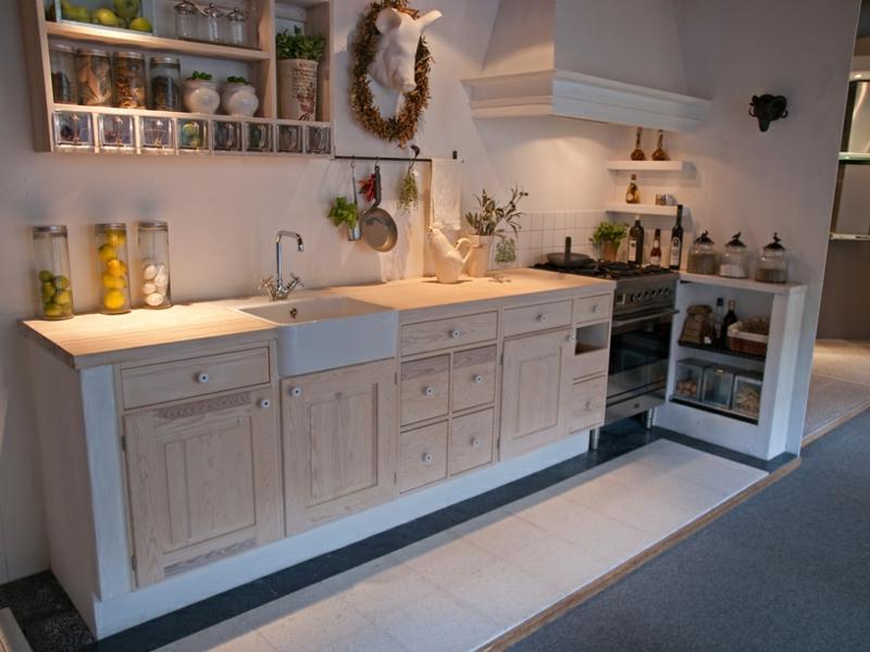 küche in naturfarben landhausstil deko ideen