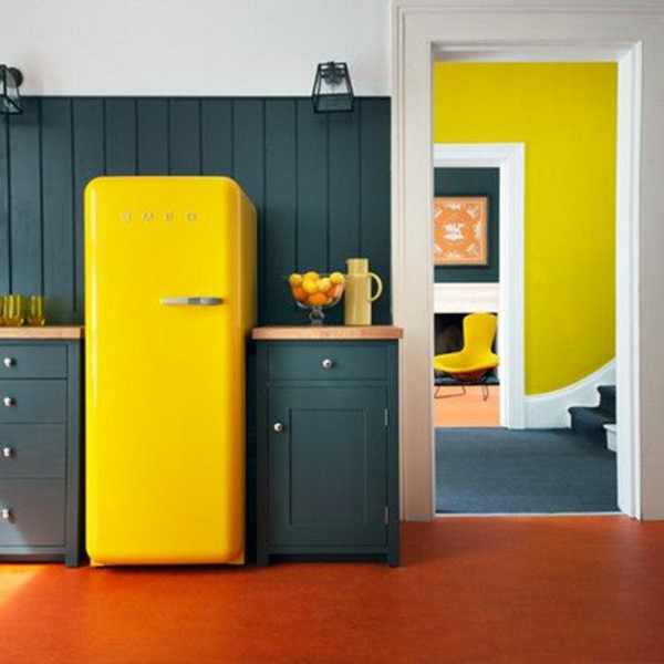küche wand farbe lagune gelbe akzente