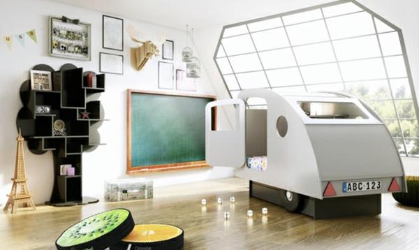 kinderzimmer bett ideen wohnwagen weiß wandregal