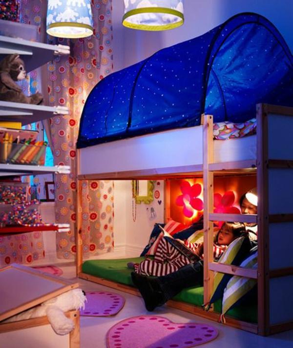 kinderzimmer betten etagenbett mit überdachnung
