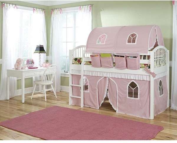 kinderzimmer betten zeltbett etagenbett rosa kinder