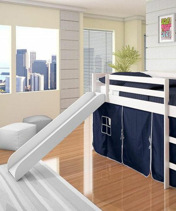 kinderzimmer betten zeltbett etagenbett weiß blau
