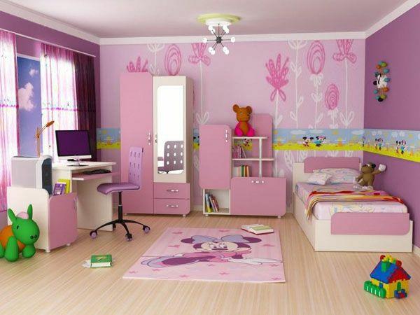 kinderzimmer design ideen für einrichtung rosa schrank bett