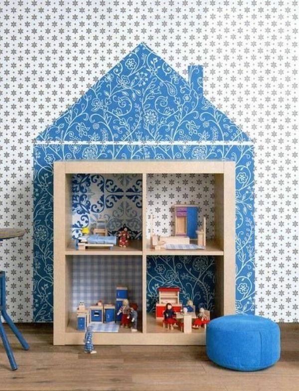 Kinderzimmer design ideen f%c3%bcr einrichtung wandgestaltung blaues h%c3%a4uschen muster