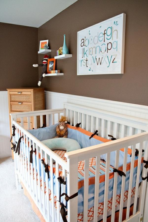 Kinderzimmer Designideen Wandfarbe Brauntöne Babywiege