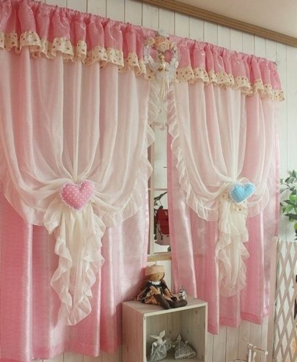 30 gardinendekoration beispiele die fenster kreativ for Vorhange kinderzimmer rosa