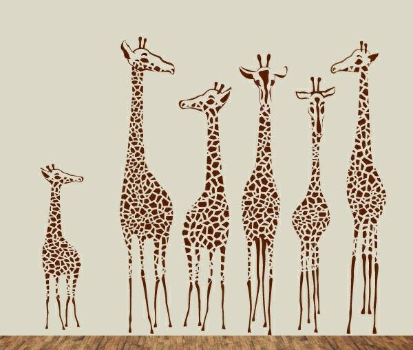 kinderzimmer wandtattoo giraffen familie