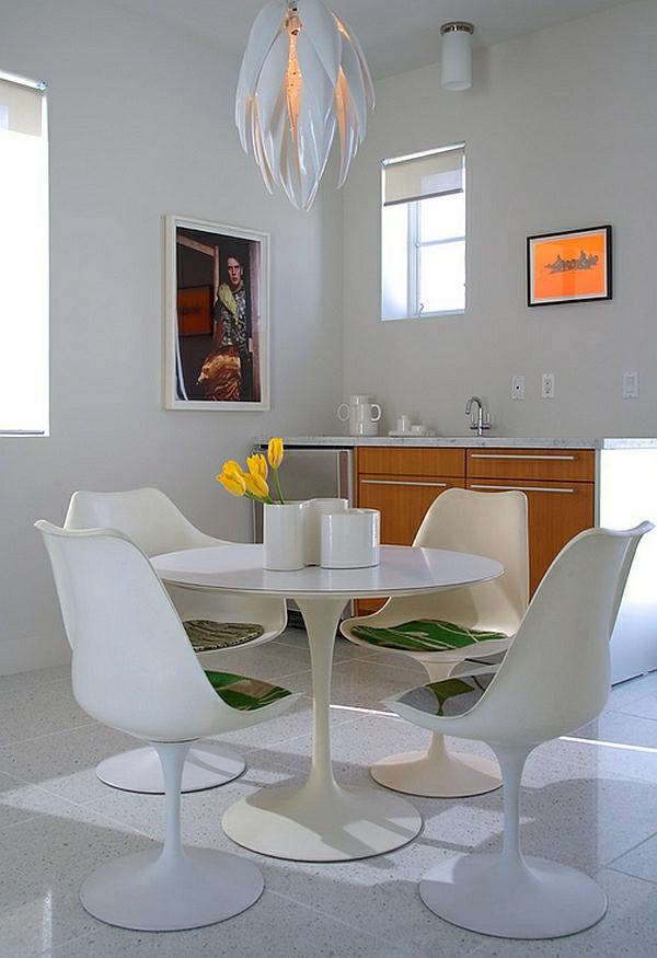 kleines esszimmer modern einrichten rundtisch in weiß