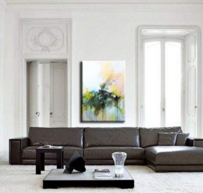 wohnzimmer kunst wandgestaltung, kreative wandgestaltung mit abstrakter kunst, Design ideen