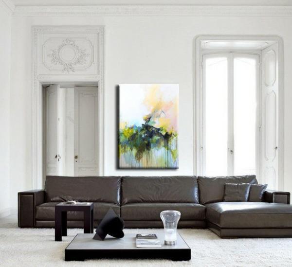 kreative wandgestaltung wohnzimmer sofa couchtisch teppichboden