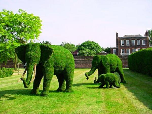 landschaft gartenskulpturen comicfiguren elefanten