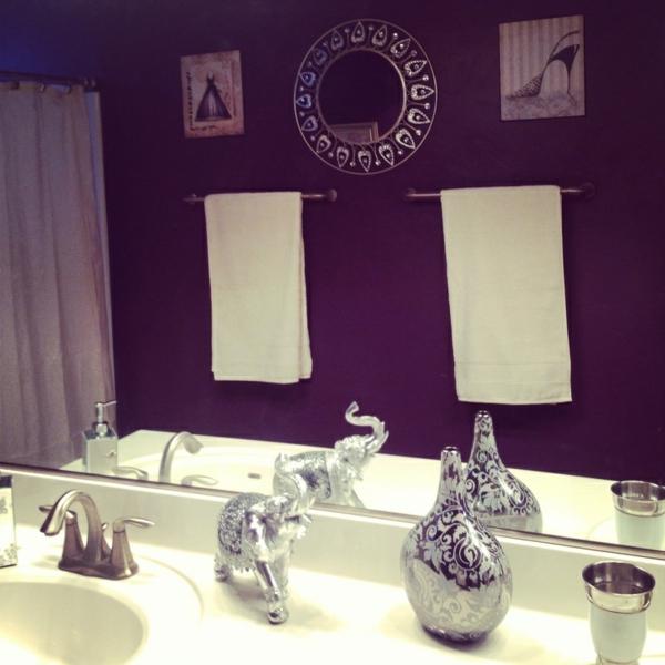 lila badezimmer designideen spüle dekoration