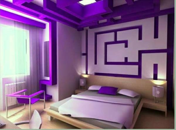 Wandgestaltung Violett+Grau - Wasserbett 2017