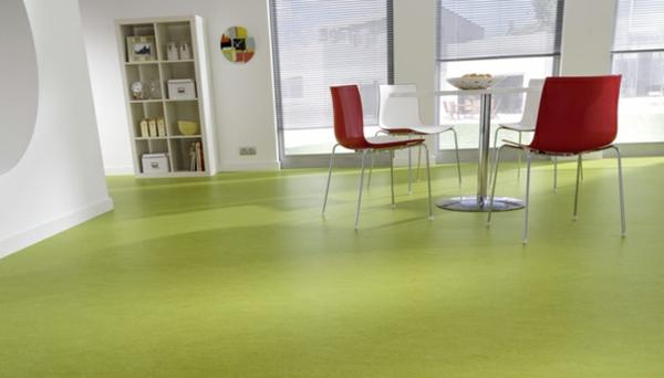 linoleum bodenbelag fußbodenbelag in grün farbideen esszimmer