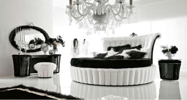 luxus schlafzimmer design ideen schwarz-weiß rundbett kronleuchter