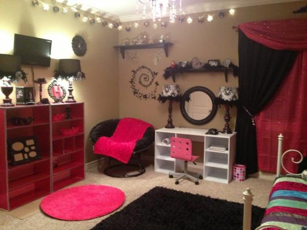 mädchenzimmer gestalten rosa schwarz