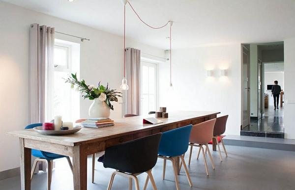 Minimalistische Moderne Esszimmer Möbel Holztisch Bunte Stühle