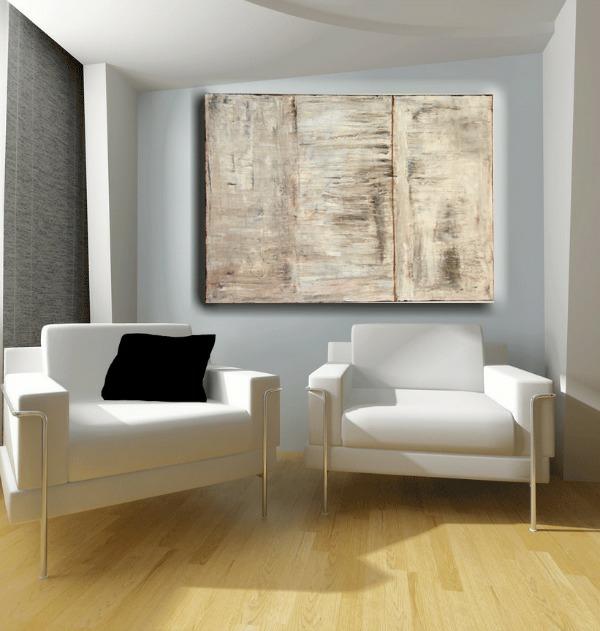 minimastische wandgestaltung abstrakte kunst luxus polstersessel weiß